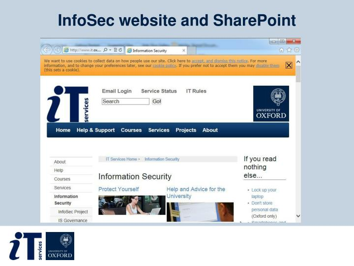 InfoSec website and SharePoint