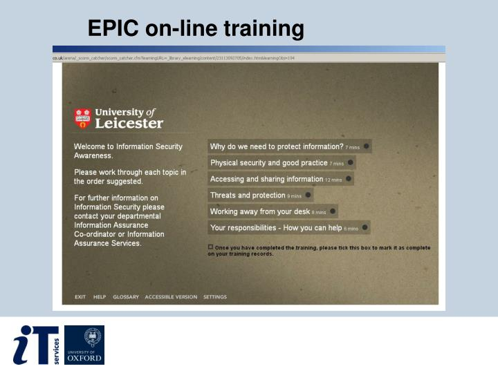 EPIC on-line training
