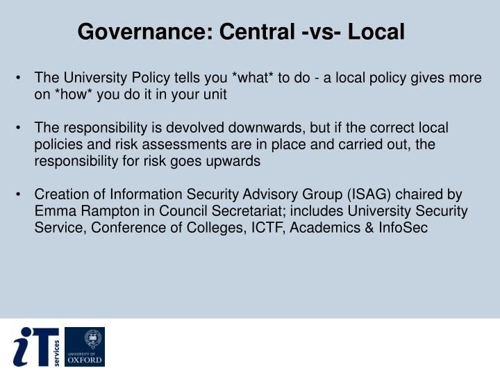 Governance: Central -