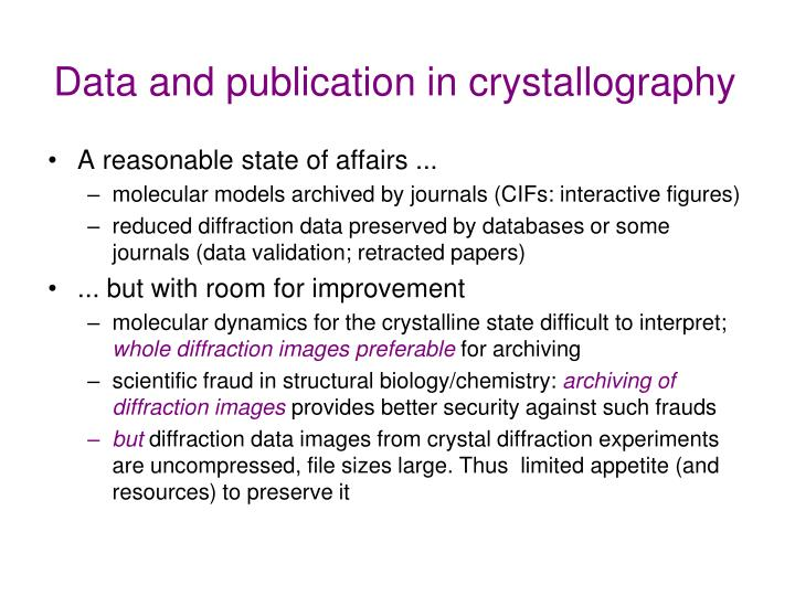 Data and publication in crystallography