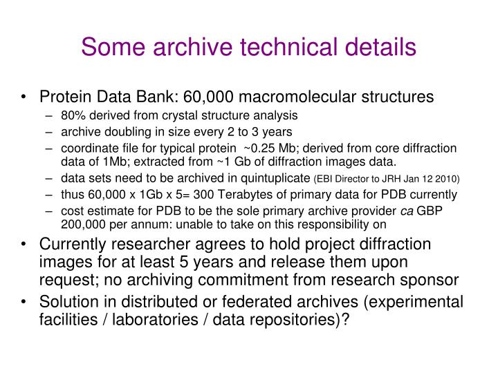 Some archive technical details