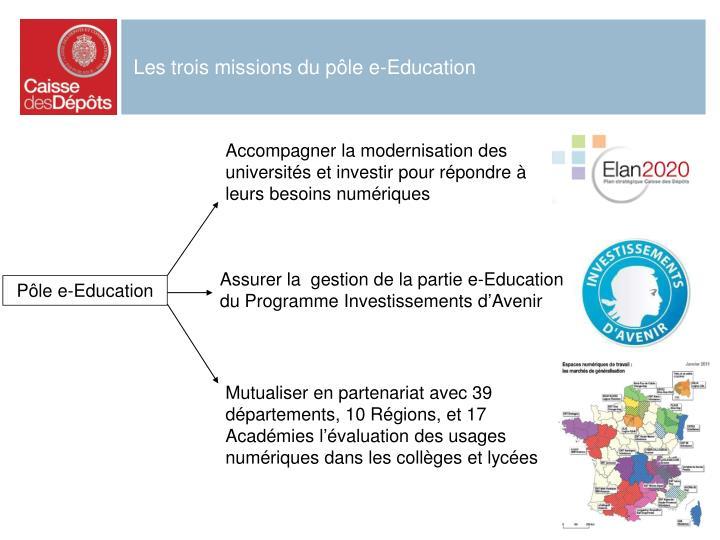 Les trois missions du pôle e-Education
