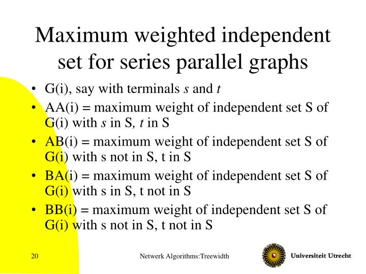 Maximum weighted independent set for series parallel graphs
