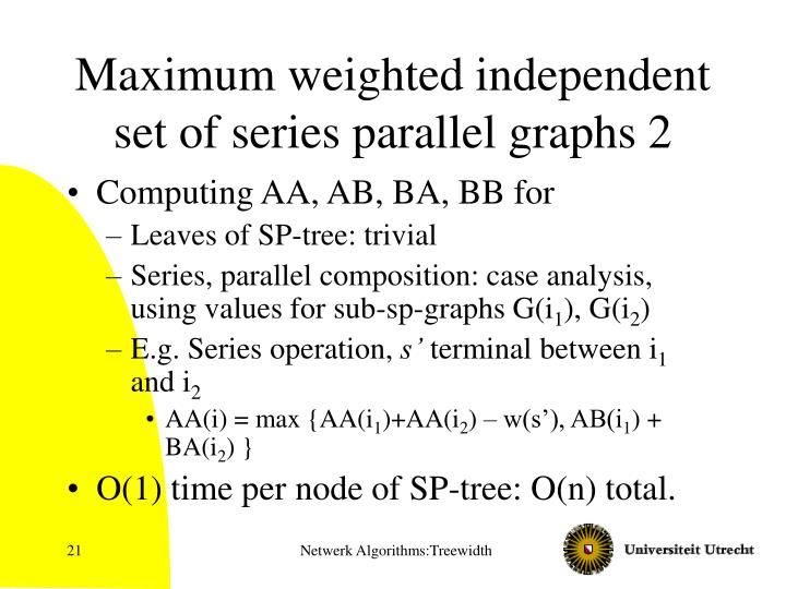 Maximum weighted independent set of series parallel graphs 2