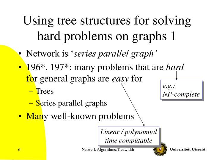 Using tree structures for solving hard problems on graphs 1