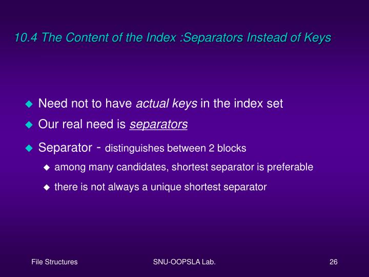 10.4 The Content of the Index :Separators Instead of Keys