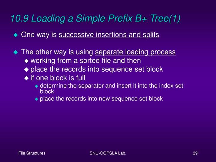 10.9 Loading a Simple Prefix B+ Tree(1)
