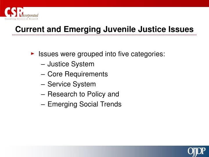 Current and Emerging Juvenile Justice Issues