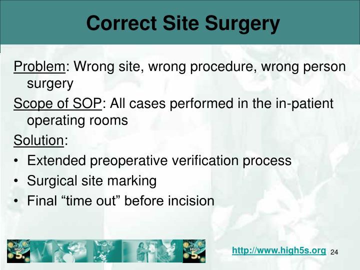 Correct Site Surgery