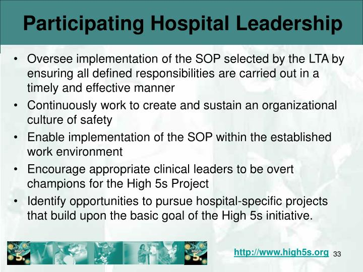 Participating Hospital Leadership