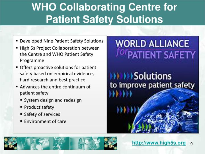 WHO Collaborating Centre for Patient Safety Solutions