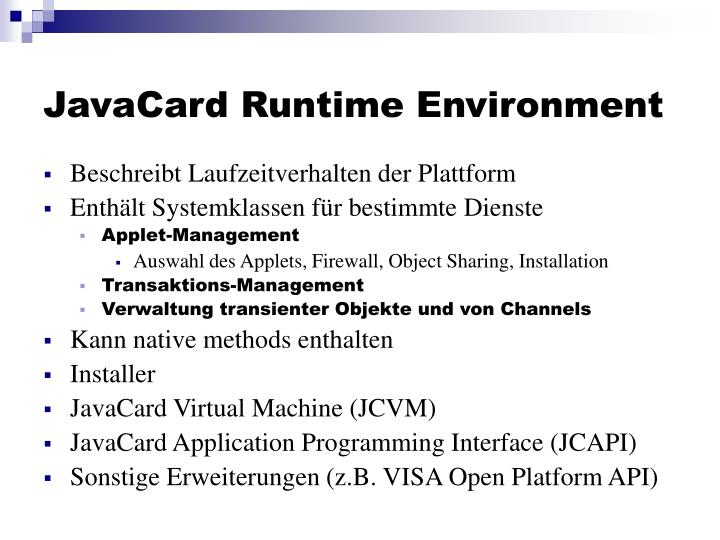 JavaCard Runtime Environment