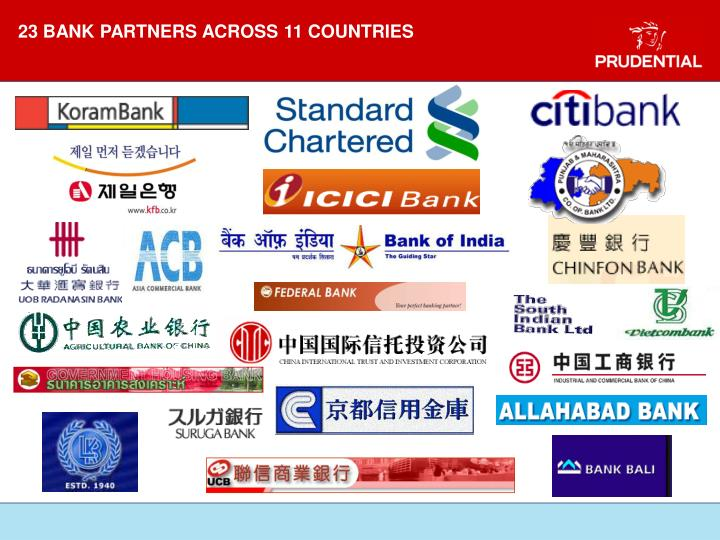 23 BANK PARTNERS ACROSS 11 COUNTRIES