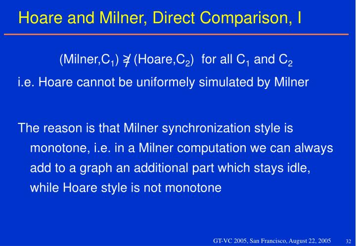 Hoare and Milner, Direct Comparison, I