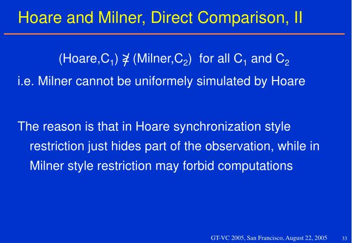 Hoare and Milner, Direct Comparison, II