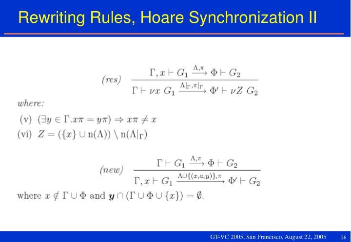 Rewriting Rules, Hoare Synchronization II
