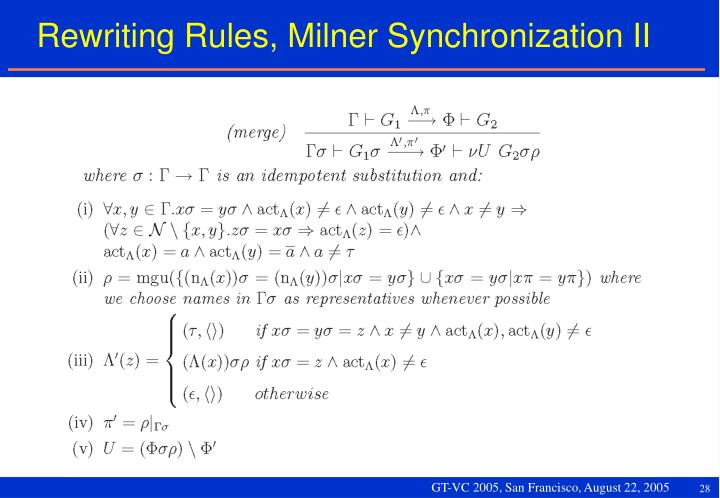 Rewriting Rules, Milner Synchronization II