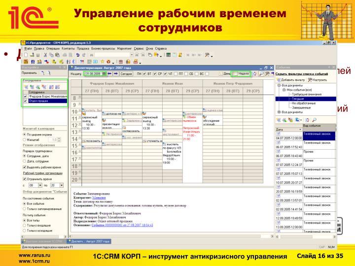 Управление рабочим временем сотрудников