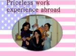 priceless work experience abroad