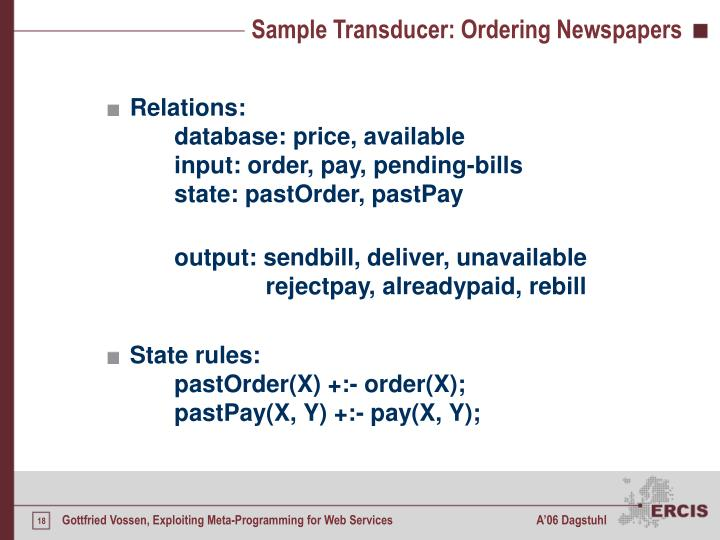 Sample Transducer: Ordering Newspapers