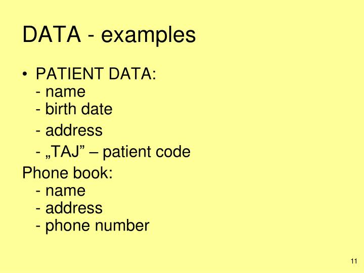 DATA - examples