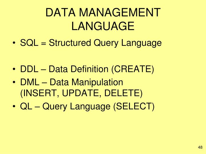 DATA MANAGEMENT LANGUAGE