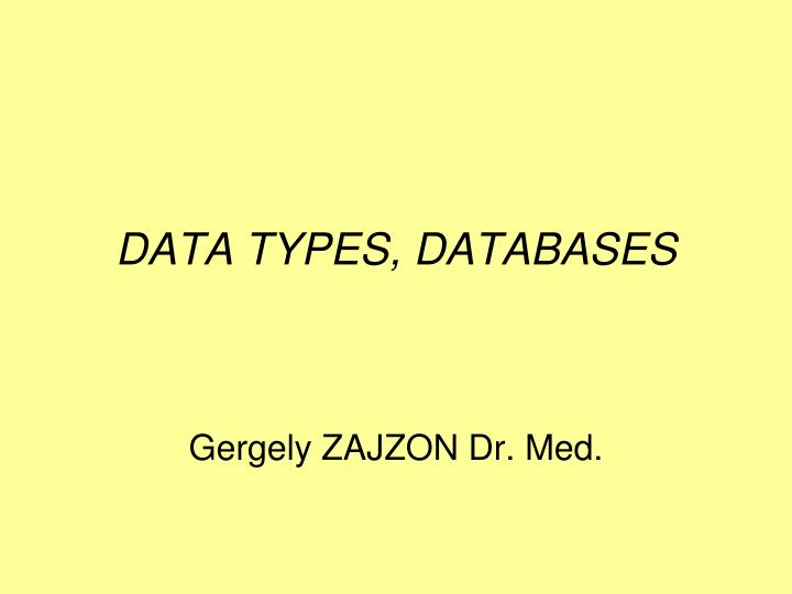Data types databases