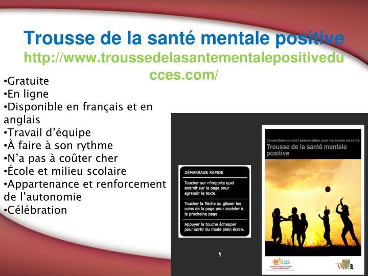 Trousse de la santé mentale positive