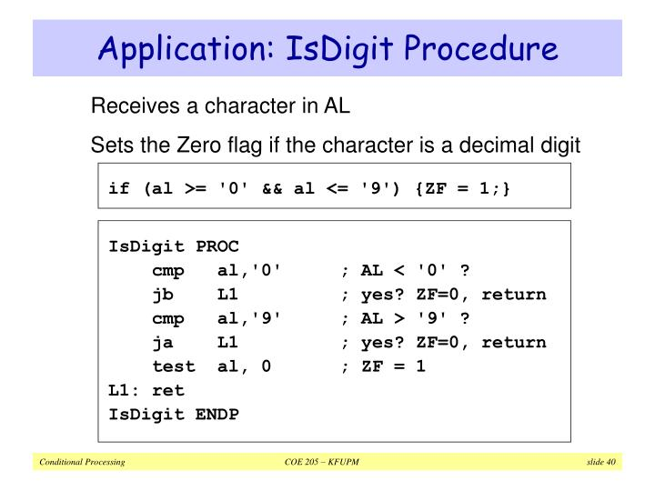 Application: IsDigit Procedure
