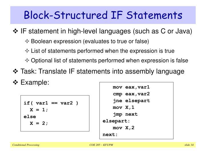 Block-Structured IF Statements