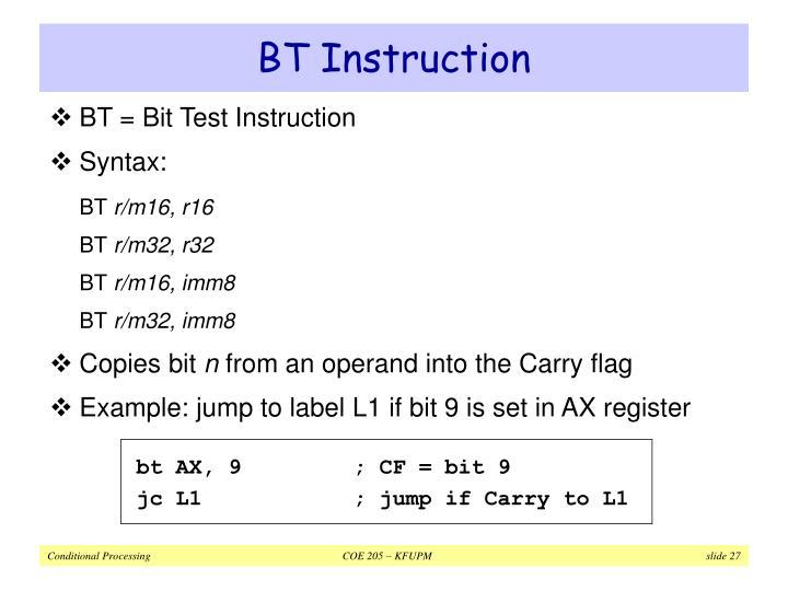 BT Instruction