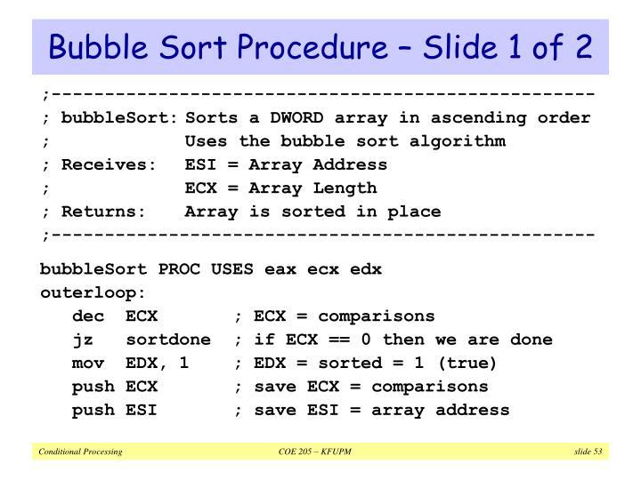 Bubble Sort Procedure – Slide 1 of 2