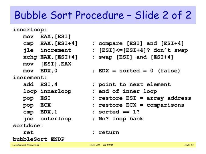 Bubble Sort Procedure – Slide 2 of 2