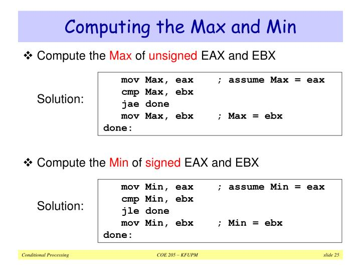 Computing the Max and Min