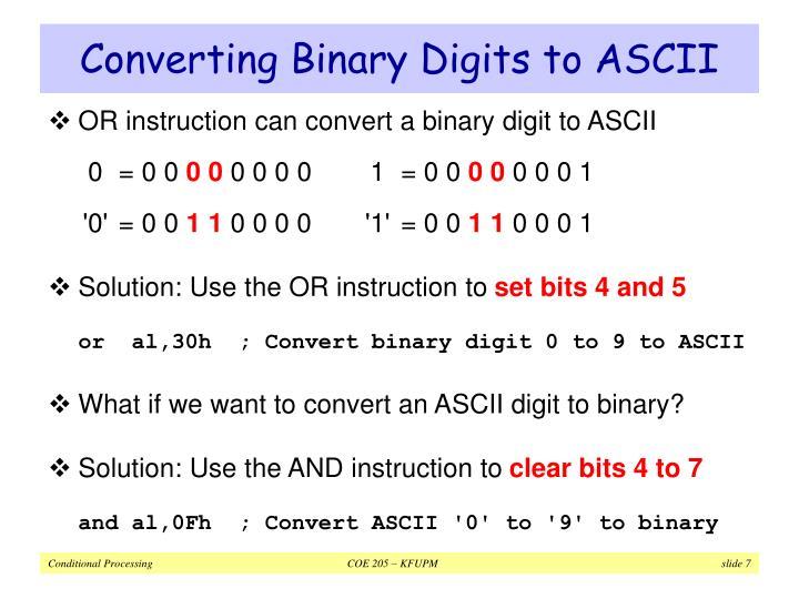 Converting Binary Digits to ASCII