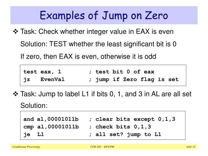 Examples of Jump on Zero