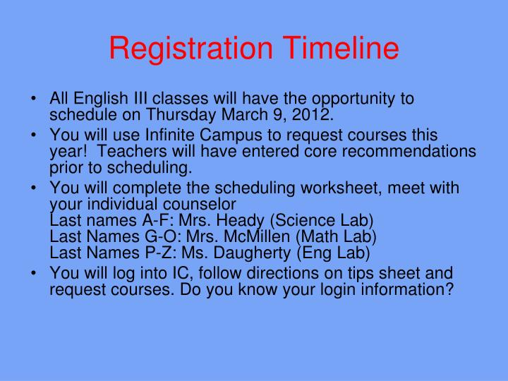 Registration Timeline