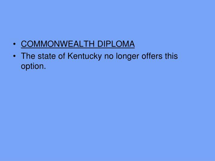COMMONWEALTH DIPLOMA
