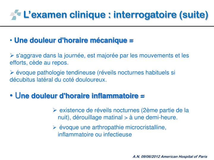 L'examen clinique : interrogatoire (suite)