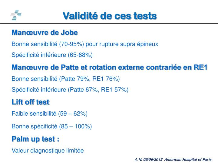 Validité de ces tests