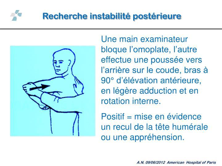 Recherche instabilité postérieure