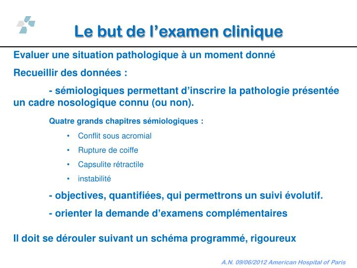 Le but de l'examen clinique