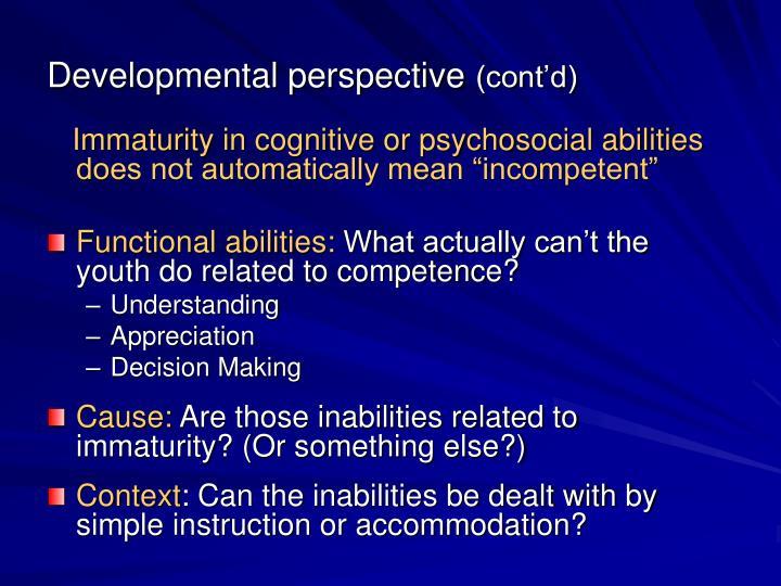 Developmental perspective