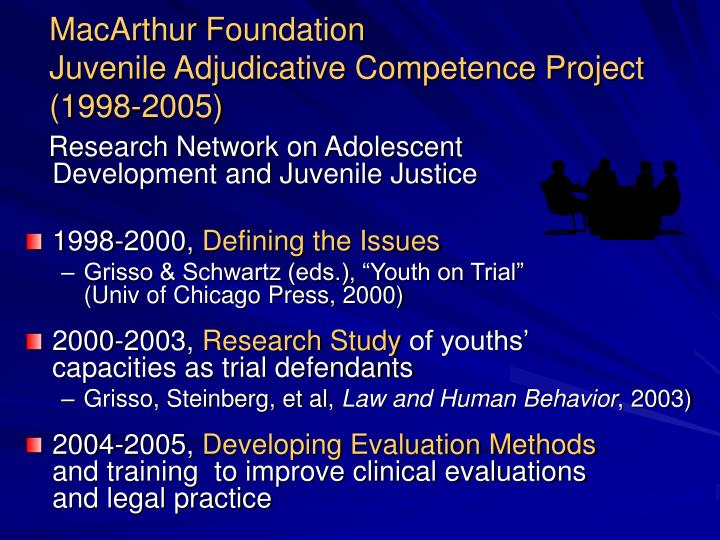 MacArthur Foundation                                 Juvenile Adjudicative Competence Project