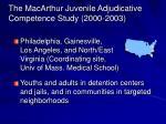 the macarthur juvenile adjudicative competence study 2000 2003