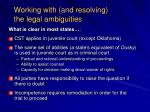 working with and resolving the legal ambiguities