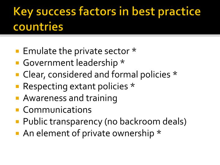 Key success factors in best practice countries