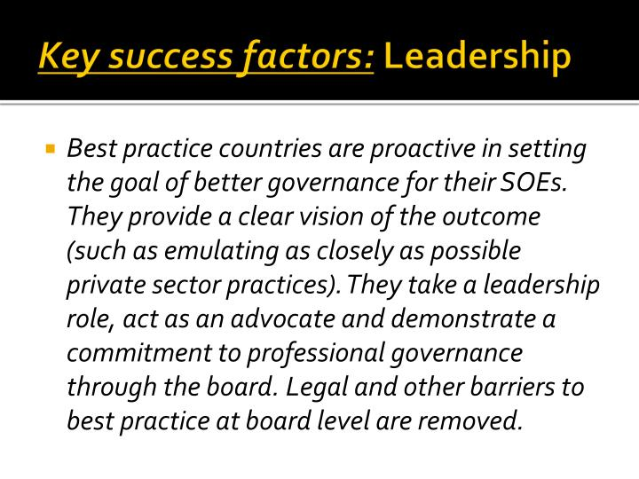 Key success factors: