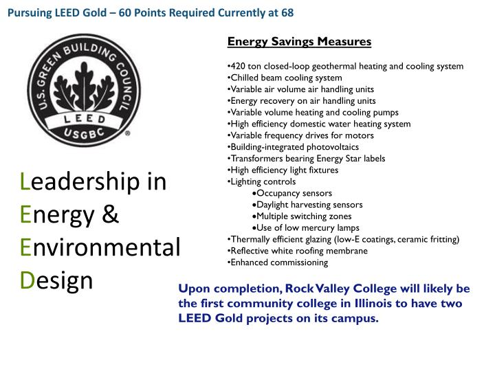 Pursuing LEED Gold – 60 Points Required Currently at 68
