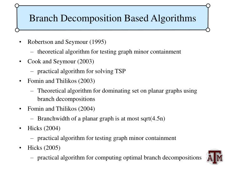 Branch Decomposition Based Algorithms